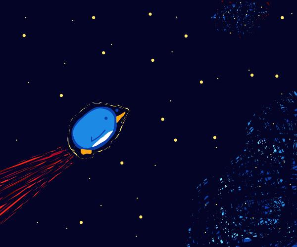 A penguin swims through the cosmos