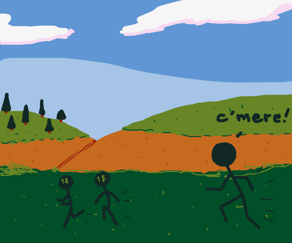 stickman chasing after sticks with a 1$ label