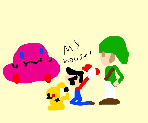 Kirby ate a house