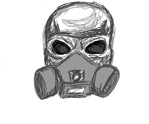 skeleton with Gas mask