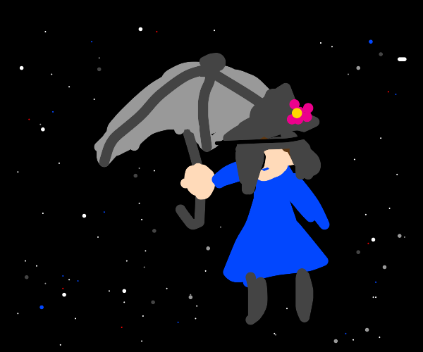 Mary Poppins travels in space on her umbrella