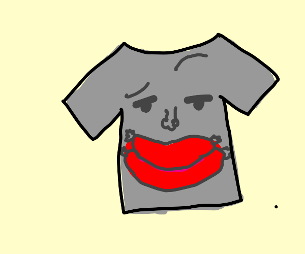 Shirt with a face and sausage lips