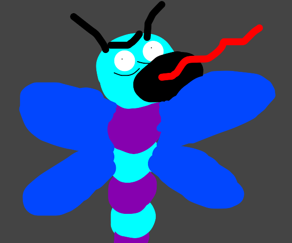 a blue purple winged dragonfly screaming