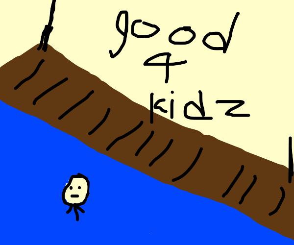 a sad man swimming by a bridge (kid friendly)