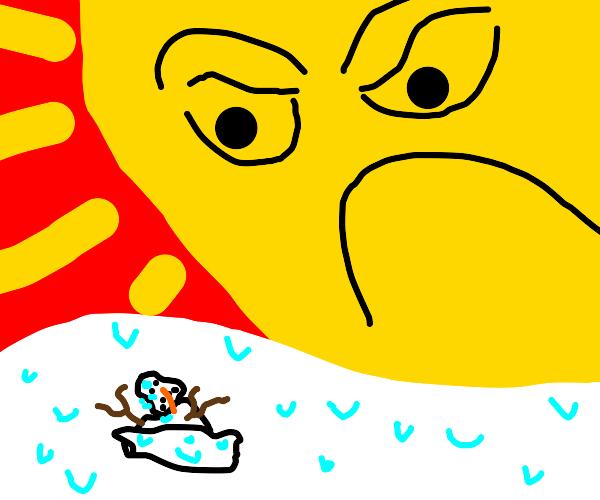 Sun destroys a snowman