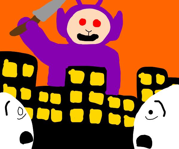 Giant murderous purple teletubby