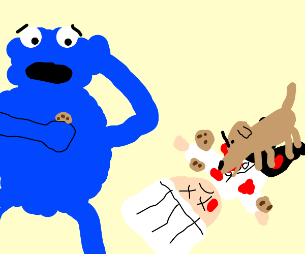 Cookie monster upset over dog eating his cook