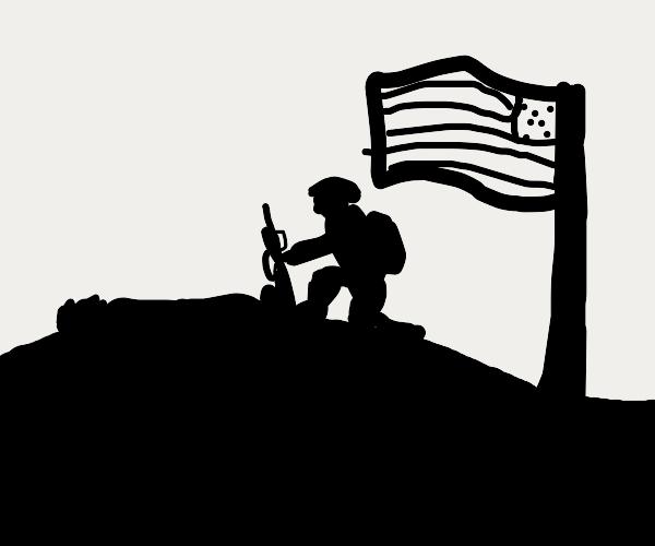 Soldier finds dead soldier friend & is upset