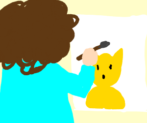 Bob Ross painting a Pikachu