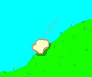 Slice of bread tumbling down a grassy hill
