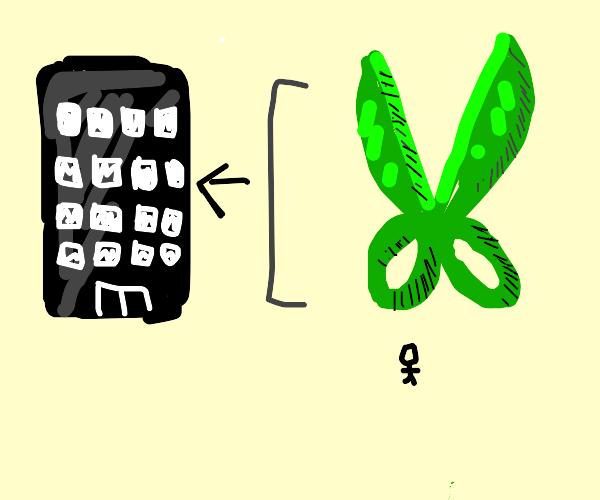 Building-size green scissors above a stickman