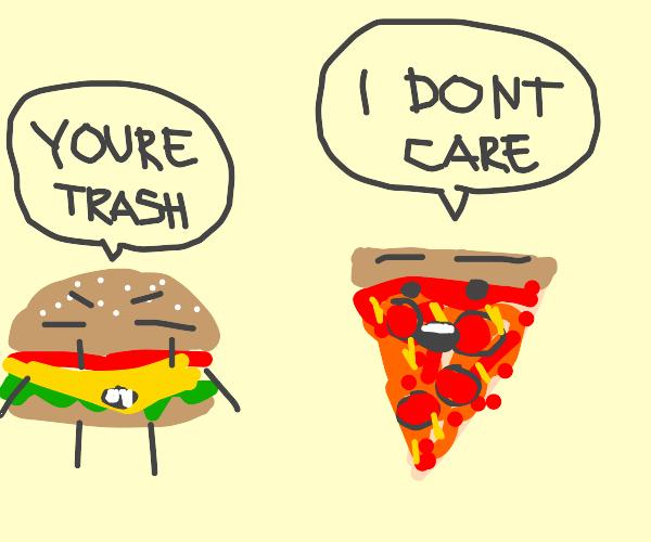 hamburger critcing pizza