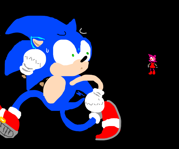 Sonic running from amy