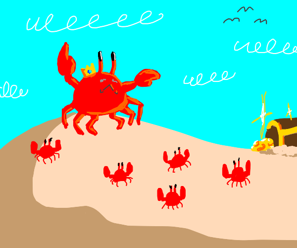 King crab pointing where crabs go