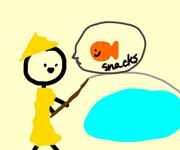 man fishing talking gold fish snacks