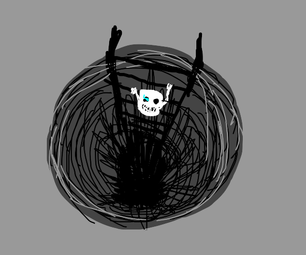 Sans' head climbing a ladder