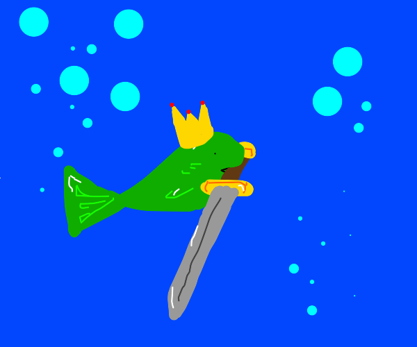 Fishing Swimming while holding a sword