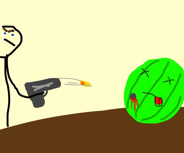 Shooting a watermelon