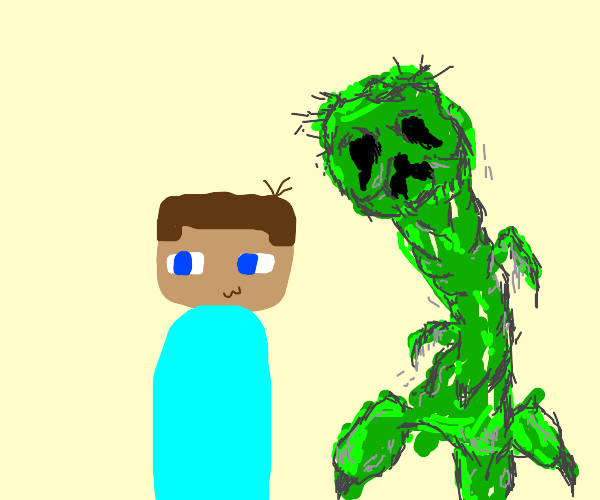 a creeper sneaks up on steve