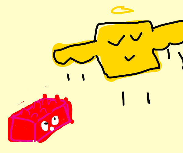 Red legos watches a yellow square fly