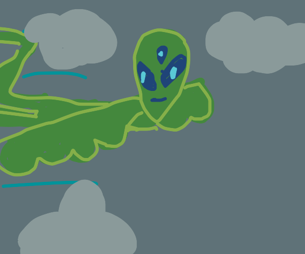 Blue/green winged alien bird with 3 eyes