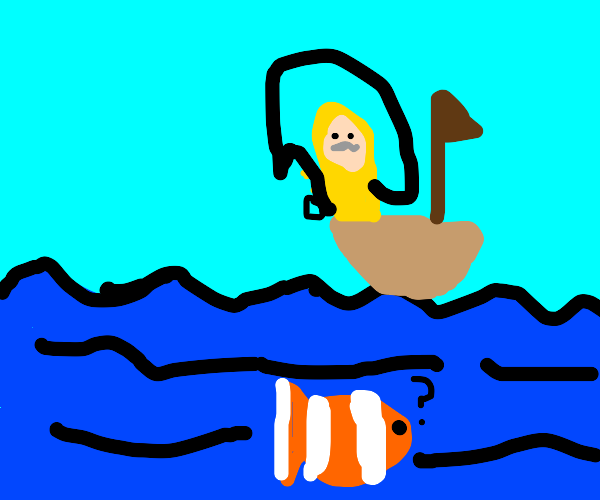 Fisherman fishing for himself