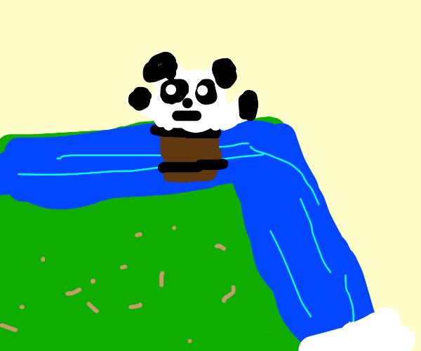 Panda going over a waterfall :o