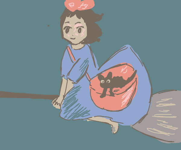 Kiki riding on her broom