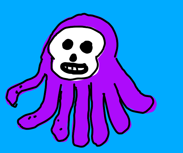 octopus with skull for face