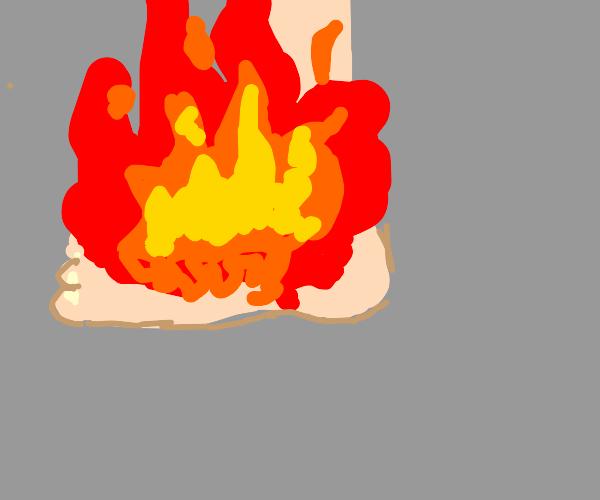 flaming foot