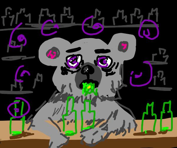 gray alcoholic bear has had a hard day