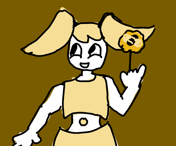 XJ-9 holding a flower with a bee