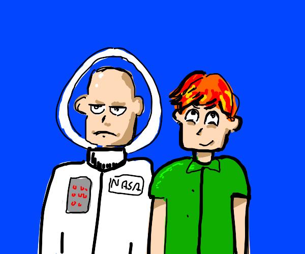 bald spacesuit man w/ green shirt guy