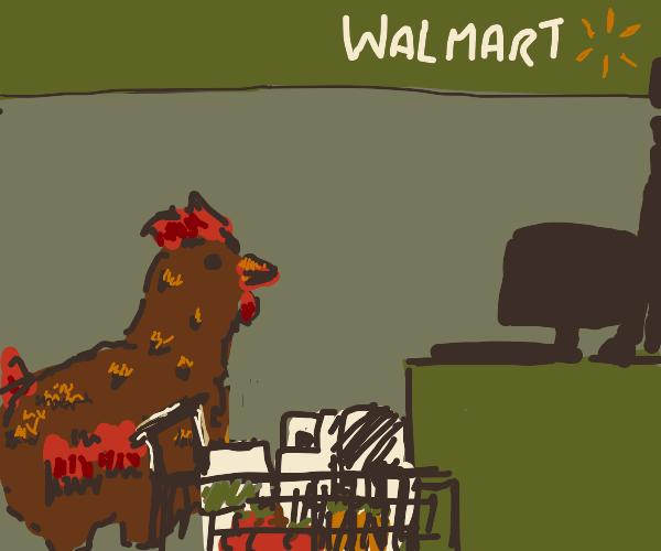 chicken checks out shopping at walmart