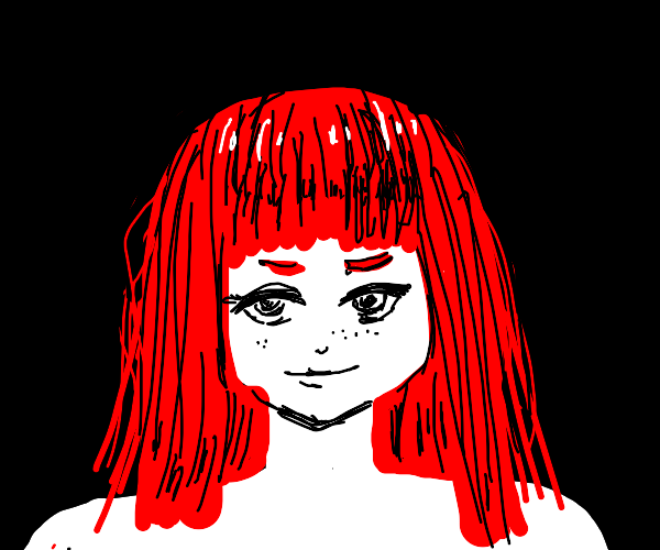 Red-haired girl with bangs