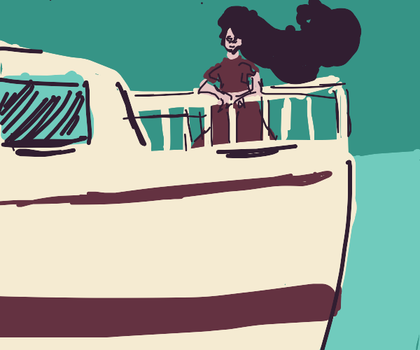 Girl looks over the edge of a boat