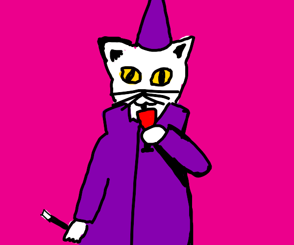 A cat magician drinking wine