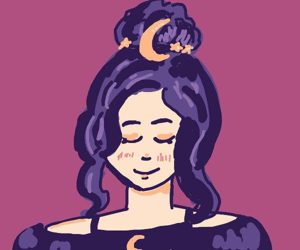Pretty girl with moon accessories