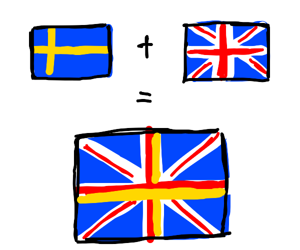 The Swedish and British flags have now merged