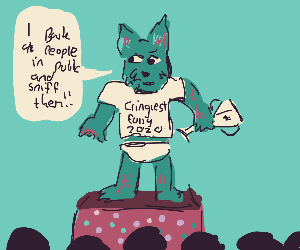 cringe furry atop dotted box