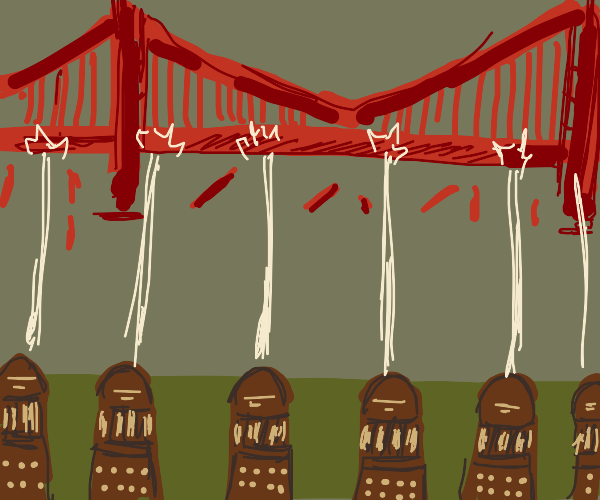 Dalek destroying Golden Gate Bridge