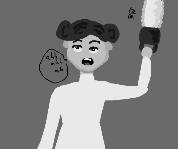a horrified leia wields a one-handed chainsaw