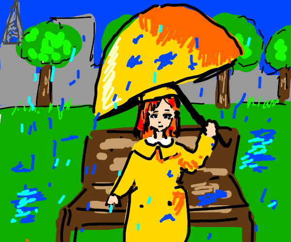 Madeline sitting on a park bench in the rain