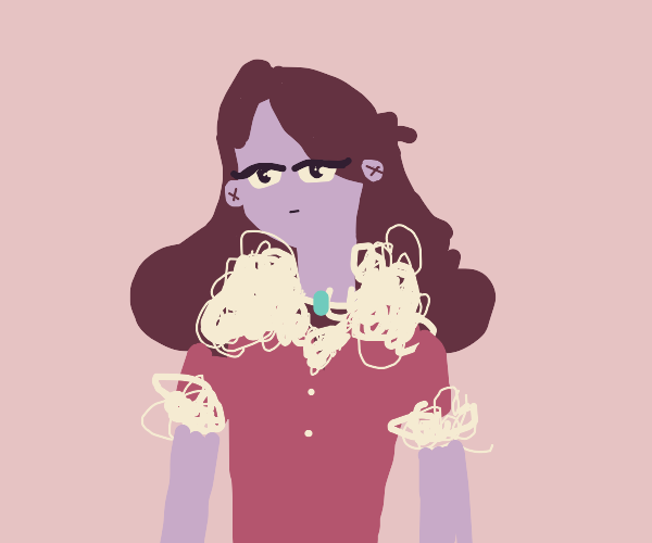 Emotionless purple girl with fancy clothing
