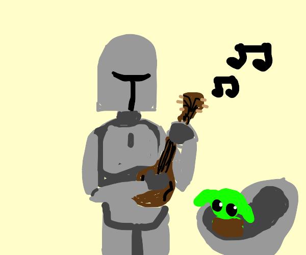 Mandalorian playing the mandoline.