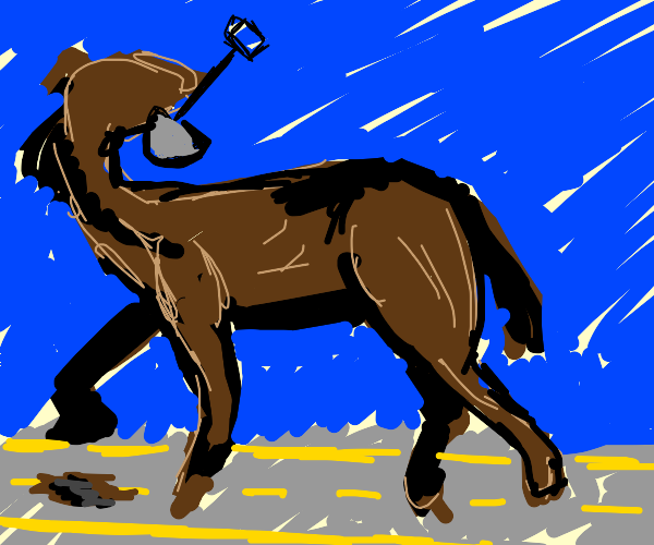 Horse digging into the Road