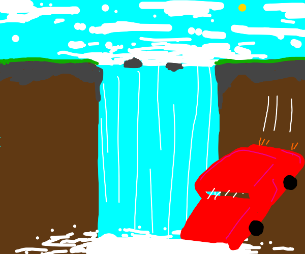Red car falls into a waterfall
