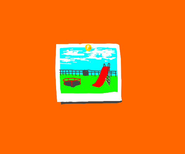 Orange room w/ pic of playground on wall