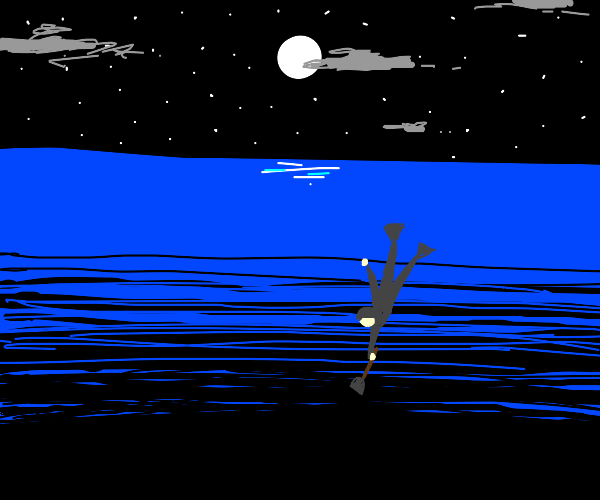 Cashier digging into the Ocean