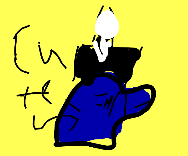 Slender man behind cute blue boi